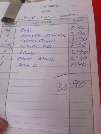 Arafo, España: счет из El Kuarto