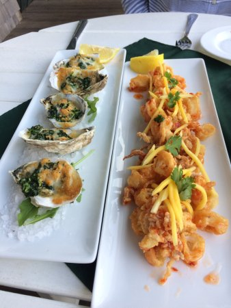 The Surf: Oysters Rockefeller and Sweet Heat Calamari apps