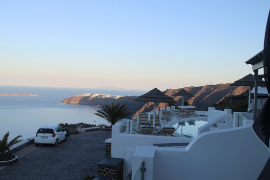 Santorini Princess: View from first light - our car was that on the left of the photo - so handy.