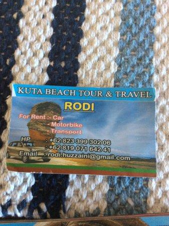 Kuta Beach - Lombok: Rodi's business card