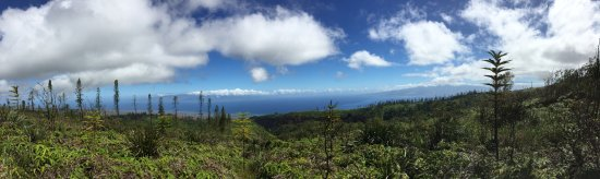 Lanai City, HI: Panorama looking west from the road of Molokai (on left) and Maui (on right)