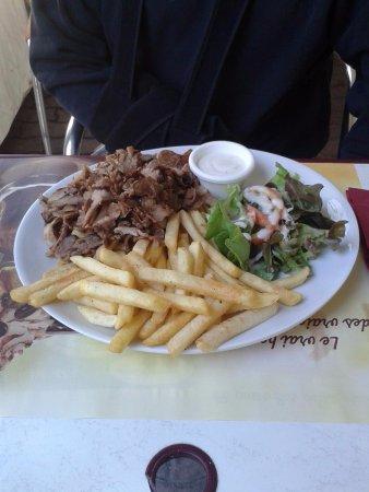 Ornolac-Ussat-les-Bains, França: Assiette kebab