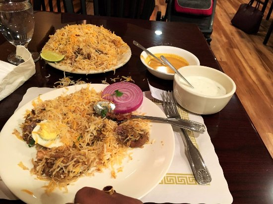 Norristown, PA: Biryani City-6 Goat Biryani with raita and salan