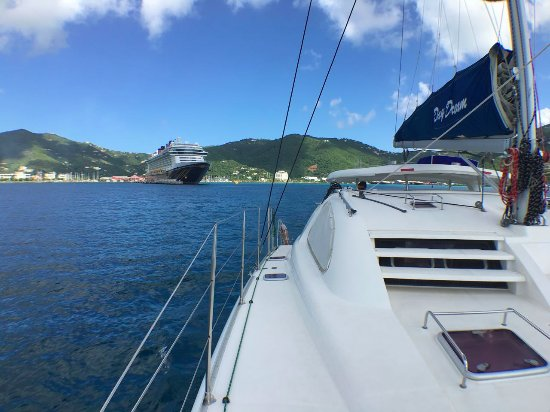 Road Town, Tortola: Looking back at the Disney Fantasy cruise ship from the bow of the Day Dream.