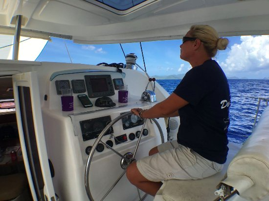 Road Town, Tortola: First Mate Katey at the helm.