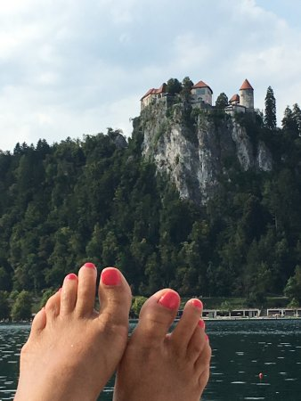 Grand Hotel Toplice: Putting my feet up on Lake Bled at the Toplice Hotel