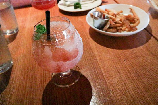 The Cedars Social: fig slushie drink with truffle fries