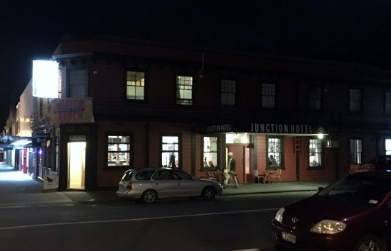 Grahamstown Bar & Diner: the junction hotel with GBD doorway to the left.