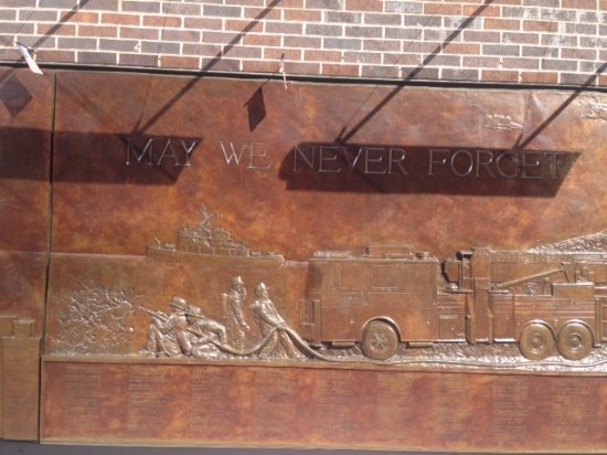 "FDNY Memorial Wall : ""MAY WE NEVER FORGET""."
