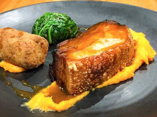 Duo of pork. Pork shoulder rillettes and braised pork belly with sweet ...