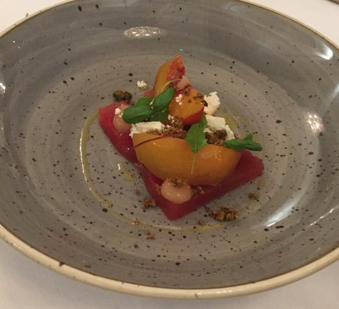 Acton Trussell, UK: compressed watermelon - feta - peach