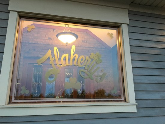 Macedon, NY: Flaherty's (Flag's) - glass window from outside