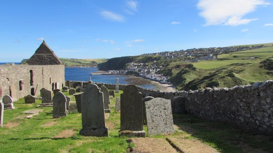 The graveyard and views to Gardenstown
