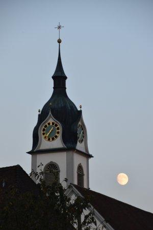 Triengen, Schweiz: vue depuis la terrasse au clair de lune