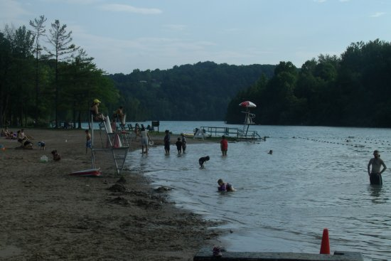 "Green Lakes State Park: Beach and a ""jump pad"" Water is more than 15 feet deep at the end"