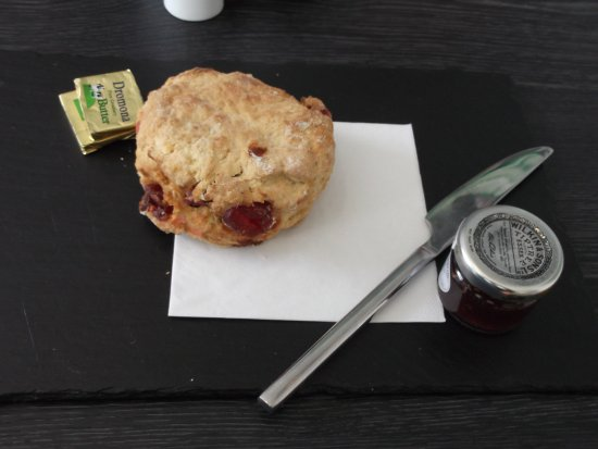 Strangford, UK: Scone and Jam on Slate Plate