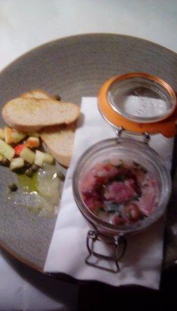 Brasserie Blanc Chancery Lane: starter HAM HOCK, APPLE & CAPER TERRINE