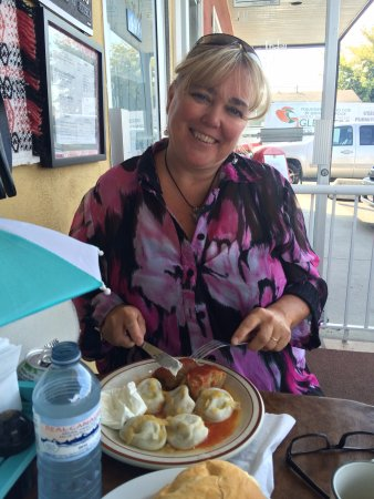 D J's Perogie Kitchen: Lynn enjoying her lunch on the outside patio