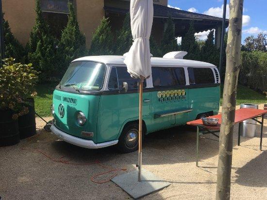 Asbury Park, NJ: Beer garden with vintage VW bus