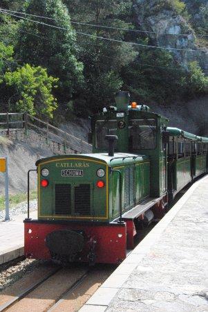 La Pobla de Lillet, España: Tren del Ciment en la estación de Jardins Artigas