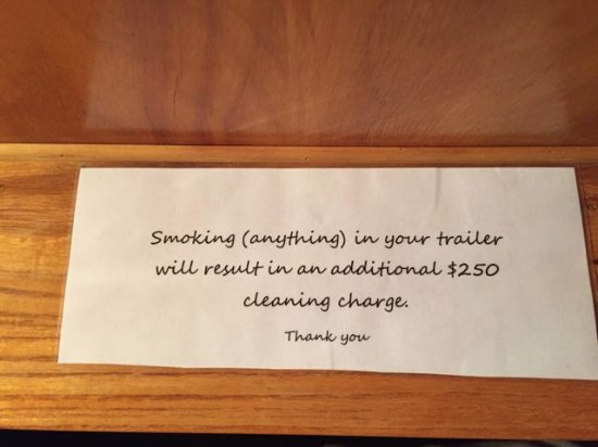 Dayton, OR: Message on crumbled piece of paper telling guests not to smoke or they will be fined.