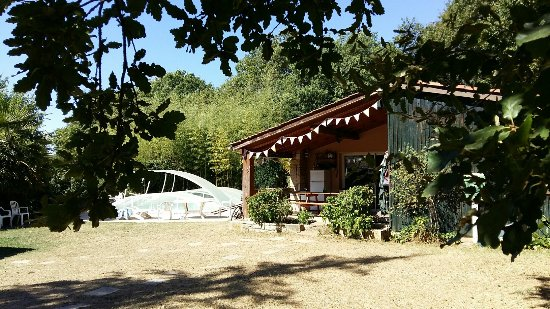 French Riding Holidays: The verandah & pool (covered)