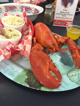 Ossipee, NH: 1 1/2 lb Lobster dinner with smashed potates and coleslaw
