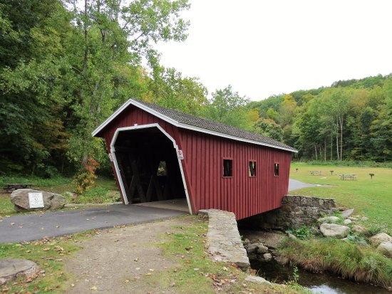 Kent, CT: The covered bridge at entrance October 2015.