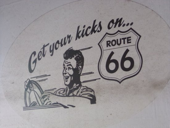 Carthage, Μιζούρι: Get your kicks on Route 66 outdoor/window sign