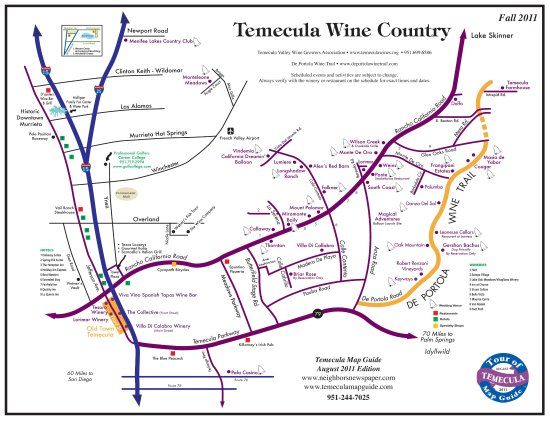 Map of Temecula Wine Country Picture of Moses Wine Tours Temecula