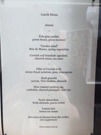 Petrus: The menu