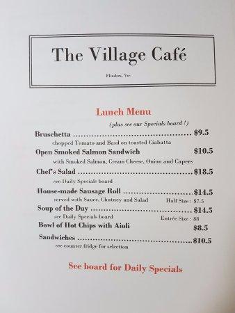 Flinders, Australia: lunch menu from last weekend (Sept 2016) plus Specials board