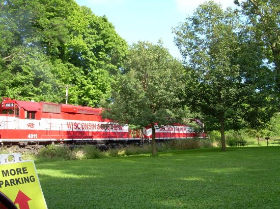 Baraboo, WI: Stopped by a train