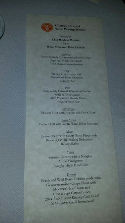 Chateau Grand Traverse Winery: A photo of one of the many courses and the menu from our Wine Tasting Dinner, September 16, 2016