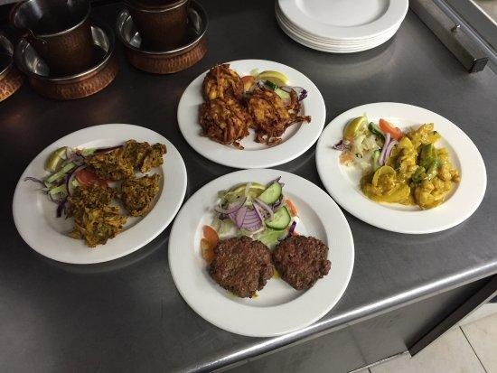 Bengal Brasserie : Garlic prawns shami kebab onion bhaji and mushroom pakora