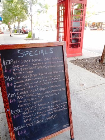 The Wildflower Café & The Crooked Rooster Brewpub: Specials Board and Special Phone Booth