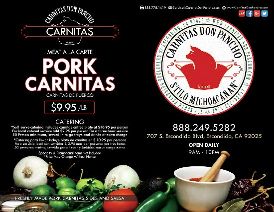 "$2 OFF Carnitas Entrée Plate fer valid ""Monday through Thursday"