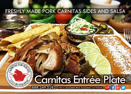 Freshly made Pork Carnitas Beans Rice Cabbage Salad Salsa three