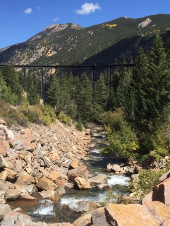Georgetown, CO: View of the bridge from down the tracks
