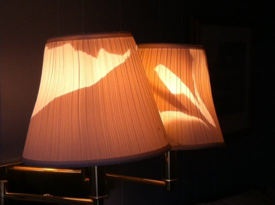 Harbor Inn Restaurant & Motel: damaged lampshades
