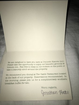 Dunleith: Nice welcome thank you note.