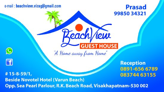 Visiting Card With Addr - Picture Of Beach View Guest House