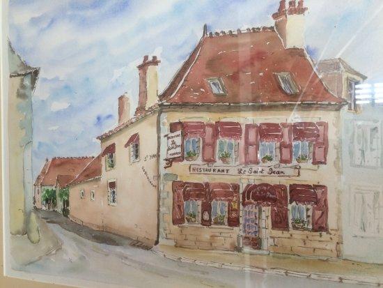 Saint-Amand-Montrond, Fransa: Schilderij v/h vroegere restaurant