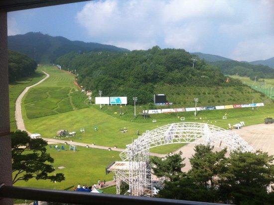 Pyeongchang-gun, Coréia do Sul: 방에서 보이는 슬로프 전망