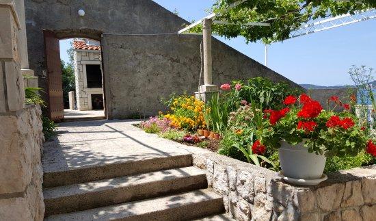 Zaton, Κροατία: Grill & entrance to Apartment Bajo A