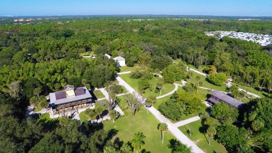 Estero, FL: Aerial view of Koreshan State Historic Site historic