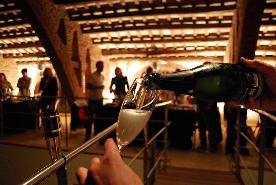 Nulles, España: Brindis con los asistentes a la ViNitCultura celebrada una noche al mes.
