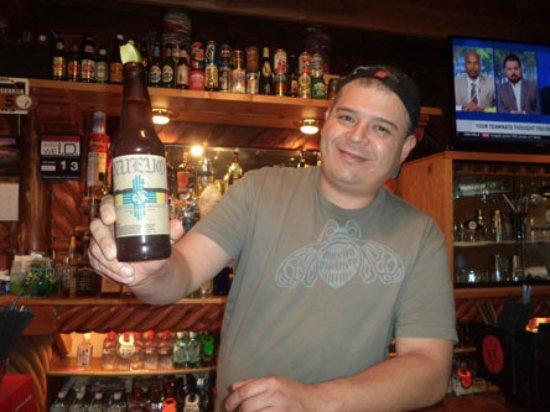 Arroyo Seco, NM: Happy bartender.