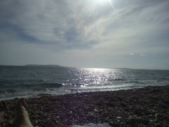 View from Ringstead beach across to Portland and Weymouth