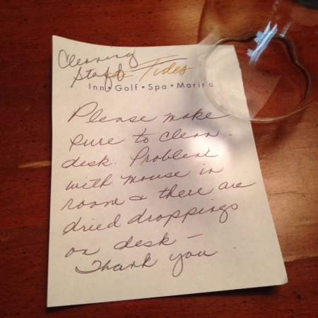 "Irvington, Wirginia: Never thought I'd have to leave a note like this in a ""Luxury "" resort hotel"